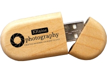 Bamboo USB Flash Drive Round Block