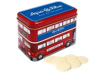 Branded White Chocolate Buttons in a Bus Tin