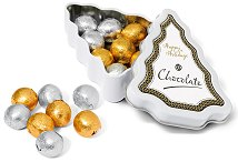 Chocolate Balls in a Mini Christmas Tree Tin