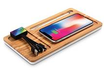 Office Organiser in Bamboo with Wireless Charger