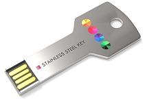 Stainless steel key shape usb printed or engraved
