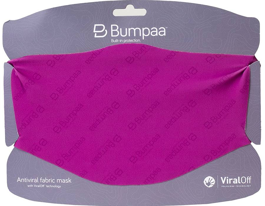 Fuchsia coloured antiviral face mask mounted on a card