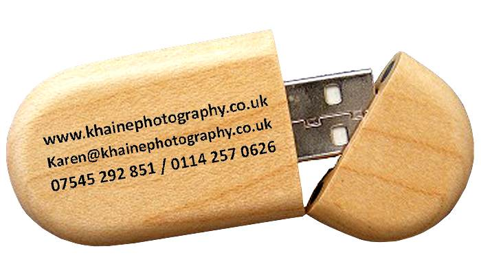 Bamboo USB Flash Drive Round Block open