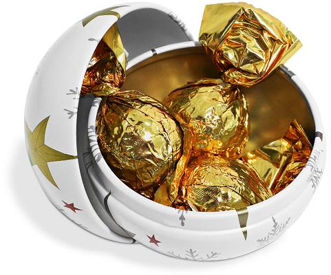 Branded Bauble Tin of Foiled Caramels with three foil wrapped caramels