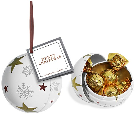 Branded Bauble Tin of Foiled Caramels