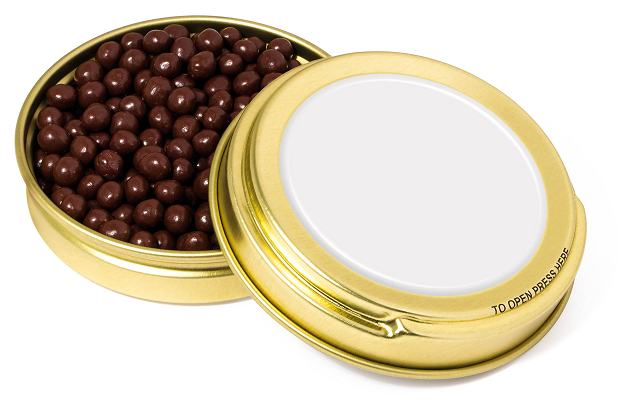 Branded Dark Chocolate Pearls Gold Caviar Tin with a blank area before we print your promotional logo