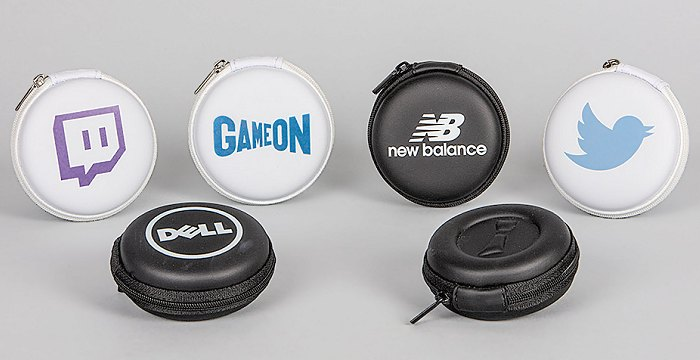Sleeved Earbuds optional zipped cases for branded earbuds.