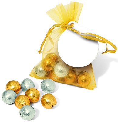 Gold & Silver Foil Chocolate balls in an Organza Bag with a blank tag before we print your logo