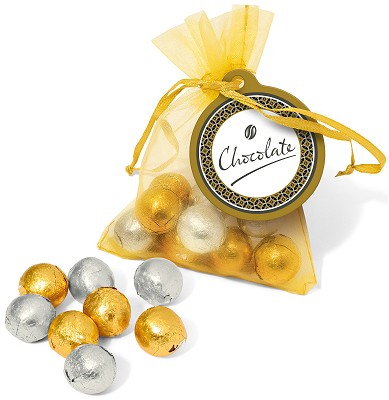 Gold & Silver Foil Chocolate balls in an Organza Bag