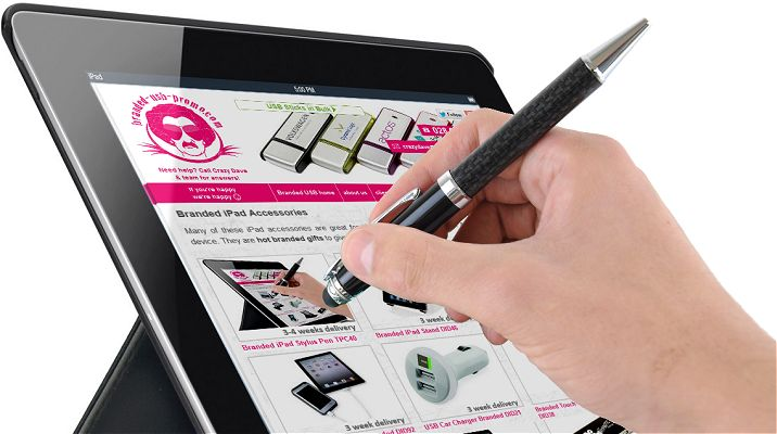 Branded iPad Stylus Pen attached to iPad