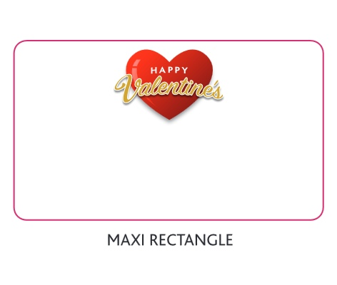 Branded Love Heart Sweets Valentines Maxi Rectangle with a blank area before we print your promotional logo
