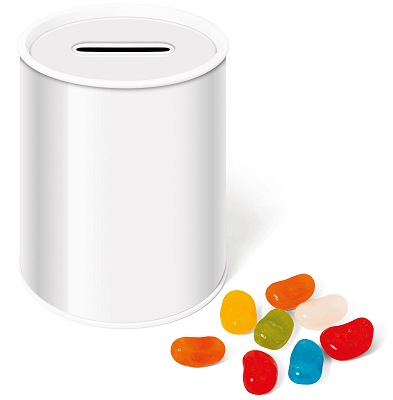 Blank Logo Branded Money Box Tin of Jolly Beans for printing with your logo