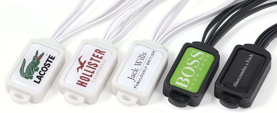 Branded multi device charging cable decal details
