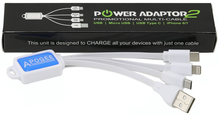 Branded multi device charging cable white with box