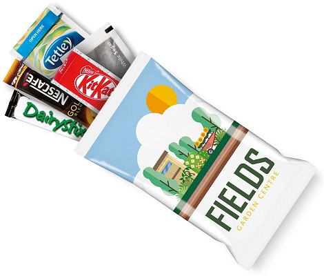 Logo Branded Snack Pack Tea Coffee Milk Sugar Kit Kat Digital Print Flow Bag