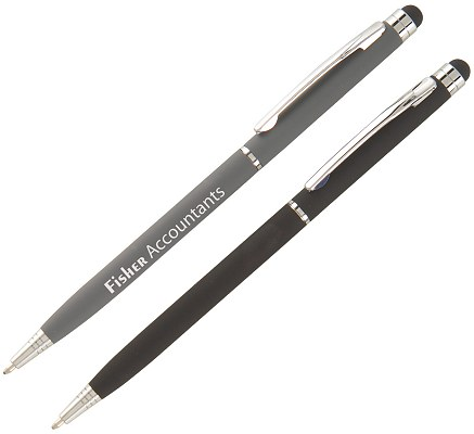 Branded Stylus Ball Point Pen grey and black