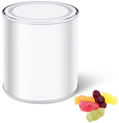 Branded Tins of Sweets Calendar Tin with Jelly Babies with a blank wrap before we print your logo