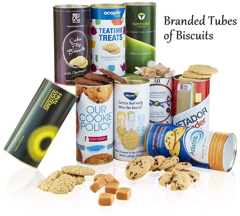 Branded Tubes of Biscuits