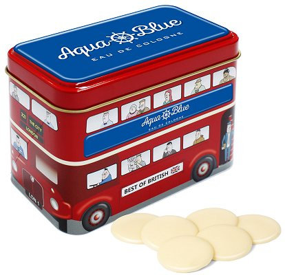 White Chocolate Buttons in a Logo Branded Bus Tin