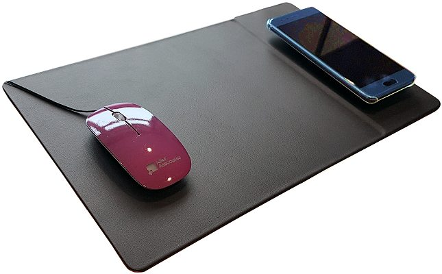 Branded Wireless Charging Mouse Mat with mouse and charging smartphone