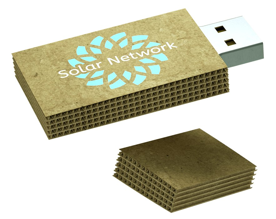 Cardboard USB Flash Drive with the cap removed