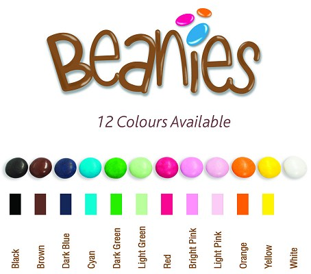 Range of colours for Promotional Chocolate Beanies Bag 10 gram