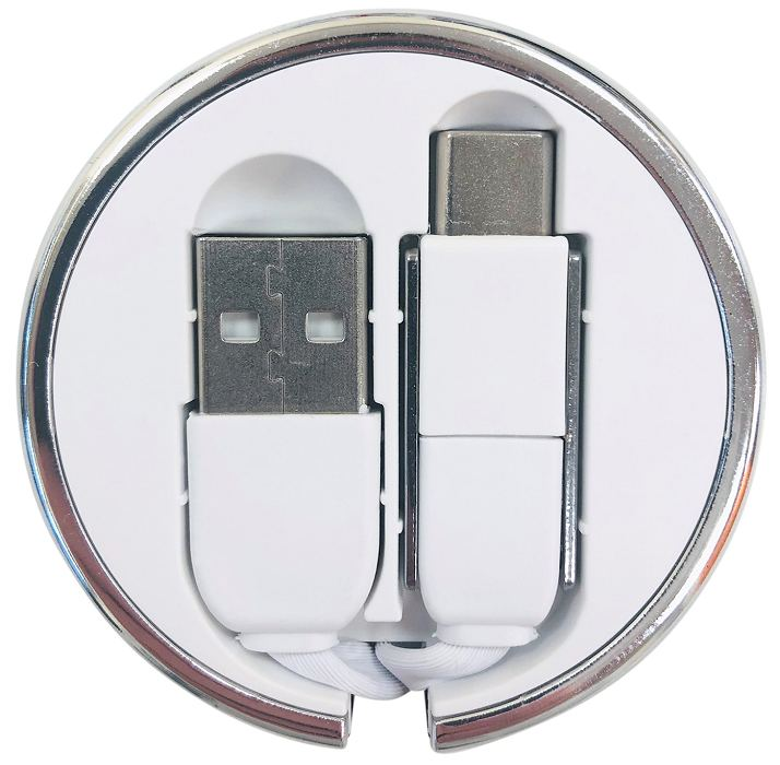 Folded away connectors of the wind-up retractable USB charging cable