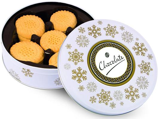 Corporate Christmas Shortbread Biscuits All Butter White Share Tin