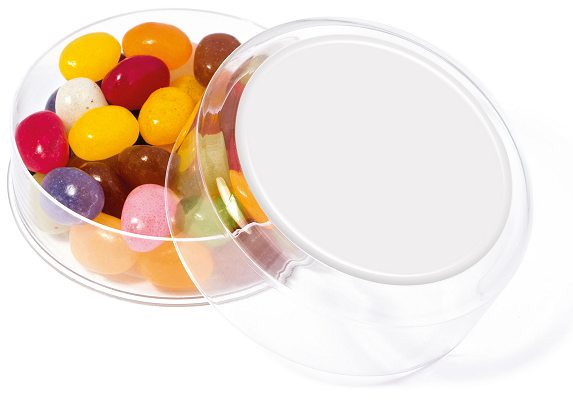 Jelly Beans Maxi Round Sweet Pot with blank wrap for logo customisation