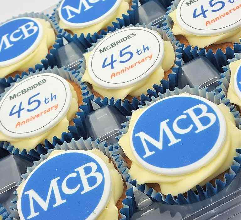 Corporate Logo Branded Cupcakes Frosted