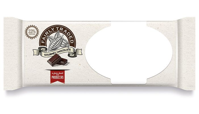 Custom Chocolate Bars Flow Wrapped Paper Label custom logo print area