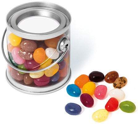 Promotional Jelly Beans in a Mini Bucket with blank lid for logo customisation