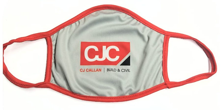Grey face mask with logo and red strap