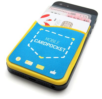 Custom Logo Smartphone Card Holder attached to a phone with a screen cleaner