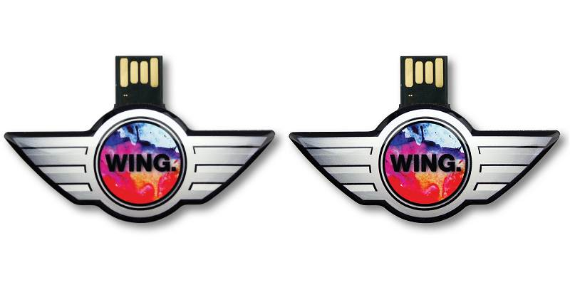 Custom Shaped USB Flash Drives: Capless wings logo shape