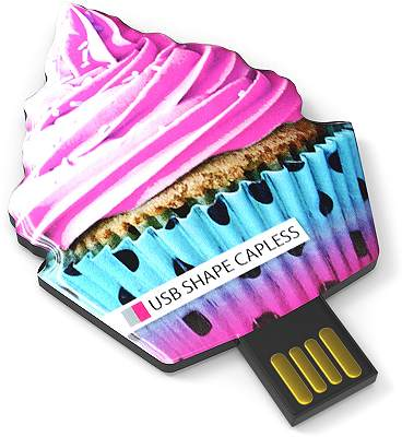 Custom Shaped USB Flash Drives Capless cup cake shape