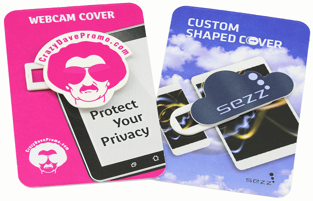 Custom Webcam Cover mounted on printed cards