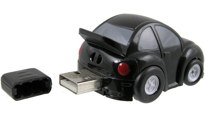 Car shaped customised memory stick opened