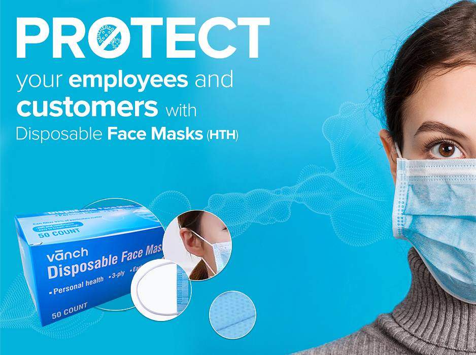 Face Mask word protect your employees and customers