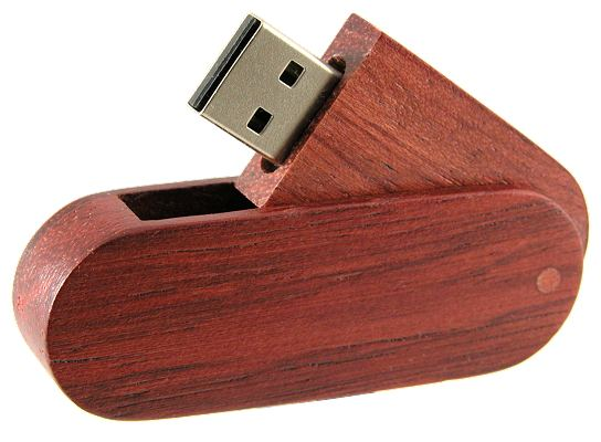 Eco Swing Wood USB Drive, side view opened