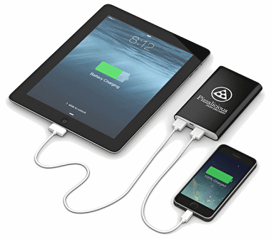 Dual output charging a smartphone and a tablet simultaneously