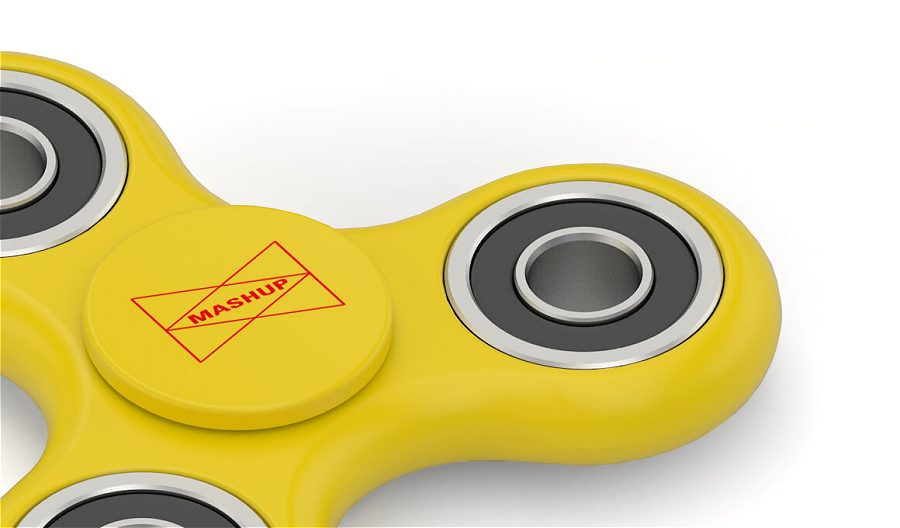 Fidget Spinner yellow with logo