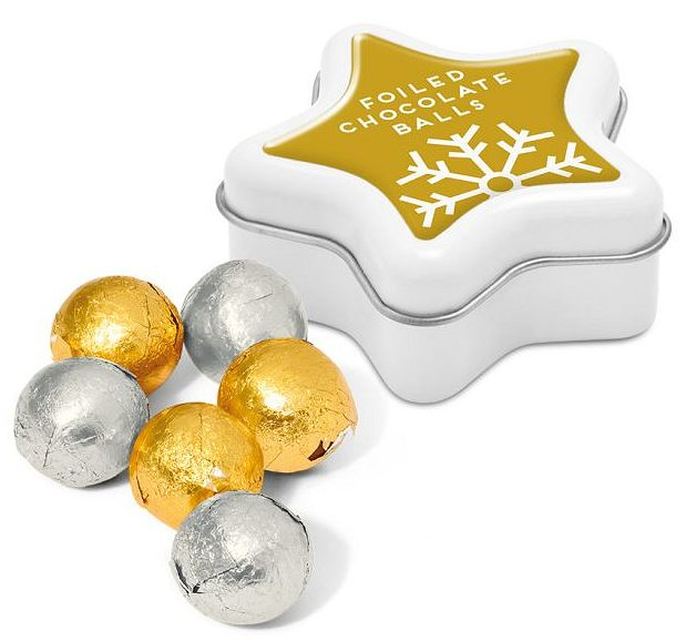 Foil Wrapped Chocolate Balls in a Mini Star Shaped Printed Tin