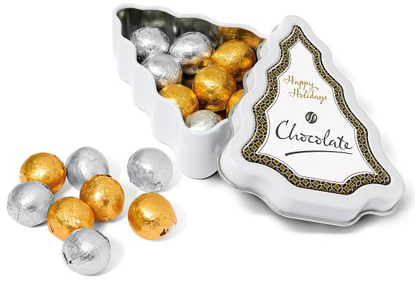 Foil Wrapped Chocolate Balls in a Mini Christmas Tree Branded Tin
