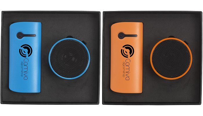 Gift Set of Cylindrical Power Bank & Bluetooth Speaker blue and oranges sets top view.