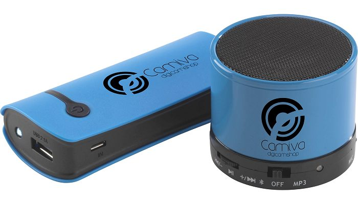 Gift Set of Cylindrical Power Bank & Bluetooth Speaker blue.