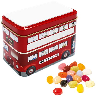 Jelly Bean Bus Tin with blank lid and sides for logo customisation