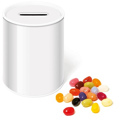 Jelly Bean Money Box Tin with blank wrap for logo customisation