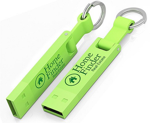 Green 2283 Keyring Promotional Flash Drive