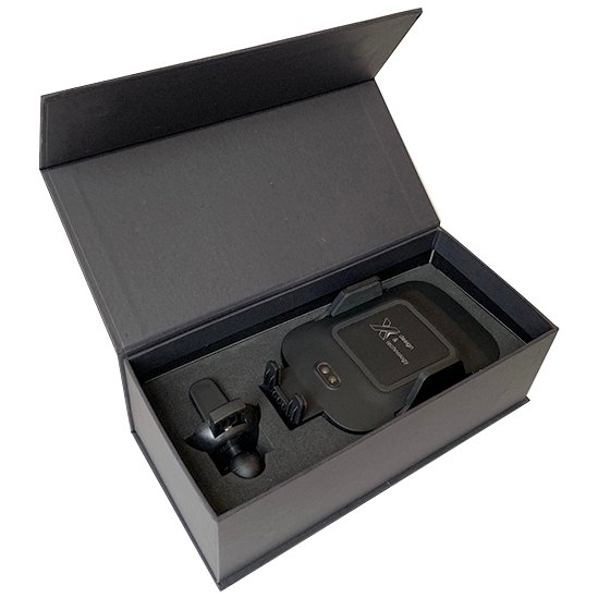LED logo wireless car charger in the black gift box